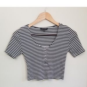Topshop striped crop top size 6